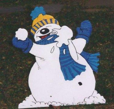 Handmade Custom painted boy and girl snowmen throwing snowballs