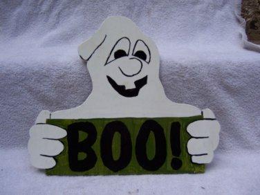 Handmade Wooden Boo Ghost Halloween yard stake