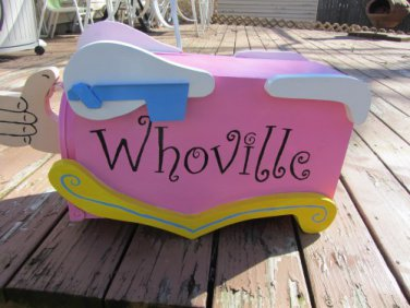 Handmade Custom Wooden Functional Dr Seuss Whoville Mailbox