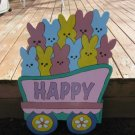 Handmade painted Easter Train Bunny car