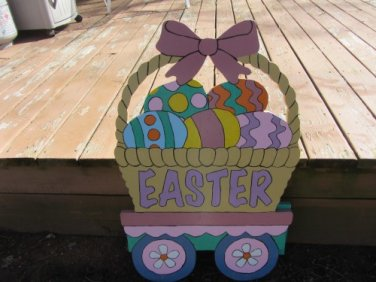 Handmade painted Easter Train Easter basket car