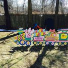 Handmade painted Easter Train with Four cars
