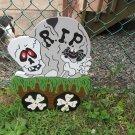 Handmade painted Monster Express Halloween RIP skeleton train car
