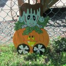 Handmade painted Monster Express Halloween Frankenstein train car