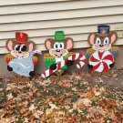 Handmade custom painted set of three wooden Christmas mice with candy for your yard