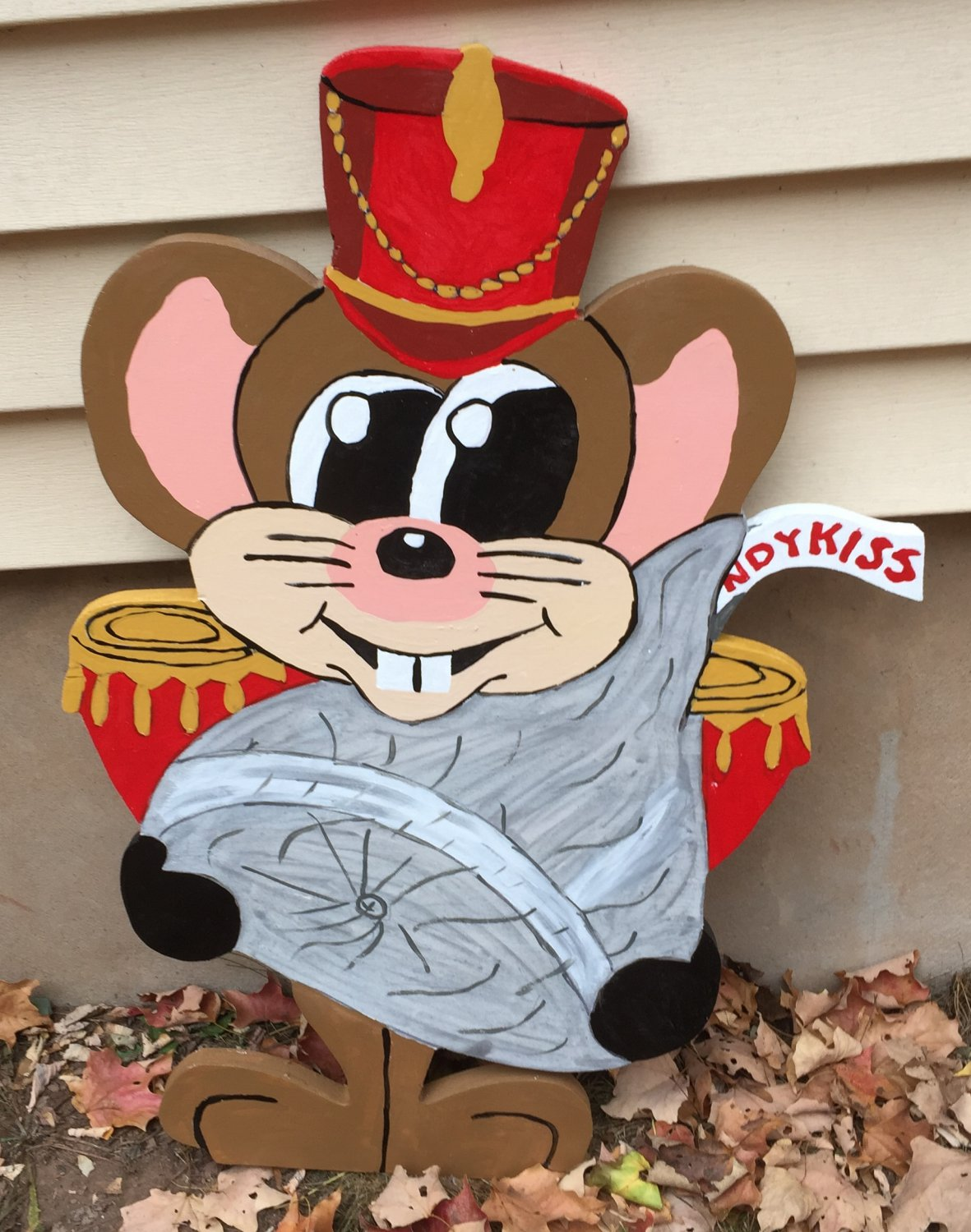 Handmade custom painted wooden Christmas mouse with candy kiss for your yard