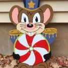 Handmade custom painted wooden Christmas mouse with candy mint for your yard