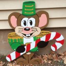 Handmade custom painted wooden Christmas mouse with candy cane for your yard