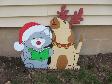 Handmade Custom painted cat and dog singing Christmas carols sign for your yard