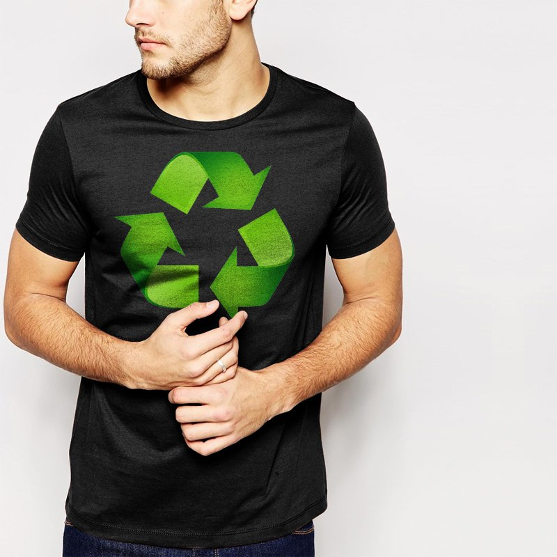 RECYCLE Logo Men T-Shirt sign Environment Earth