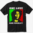 Bob Marley One Love Rasta Black T-Shirt Screen Printing