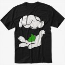 Cartoon Hands Pinch Pot Weed Swag Black T-Shirt Screen Printing