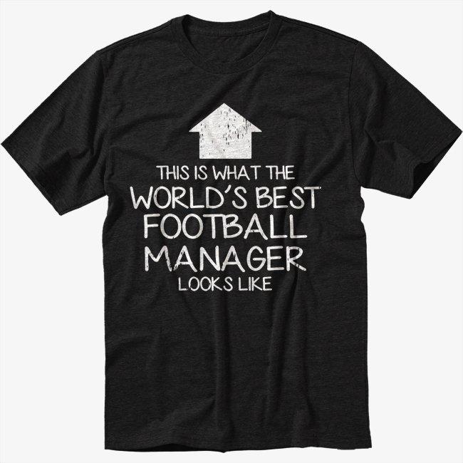 WORLD'S BEST Football Team Manager Black T-Shirt Screen Printing