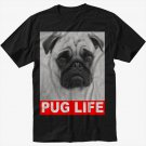 Dog Pug Life Slogan Black T-Shirt Screen Printing