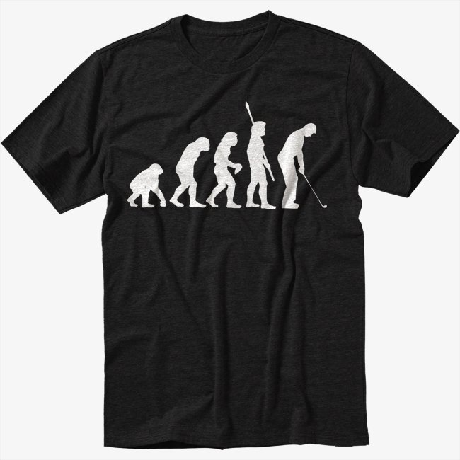 Evolution of Golf Golfing Club Tournament Black T-Shirt Screen Printing