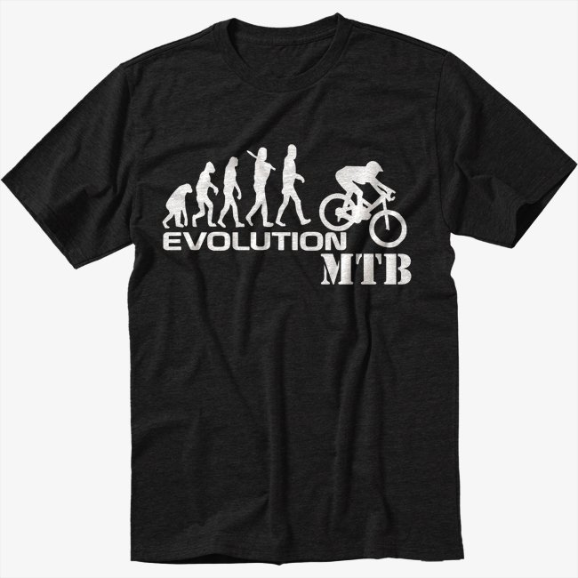 Evolution of Mountain Biker Downhill Single Track MTB Black T-Shirt Screen Printing