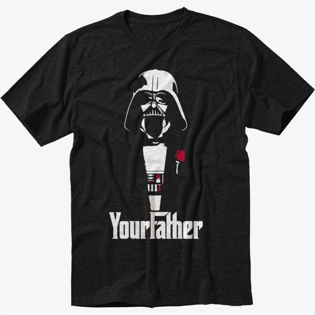 FUNNY STAR WARS DARTH VADER GODFATHER Black T-Shirt Screen Printing