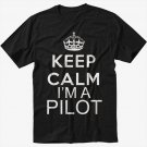 Keep Calm I'm A Pilot Mens T-Shirt Fly Flying Airplane Tee Black T-Shirt Screen Printing