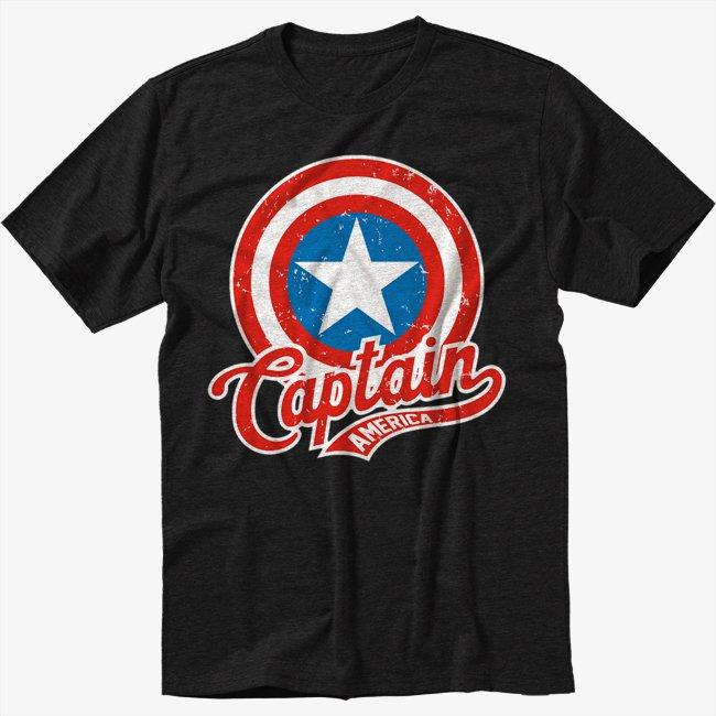 Marvel Captain America Black T-Shirt Screen Printing