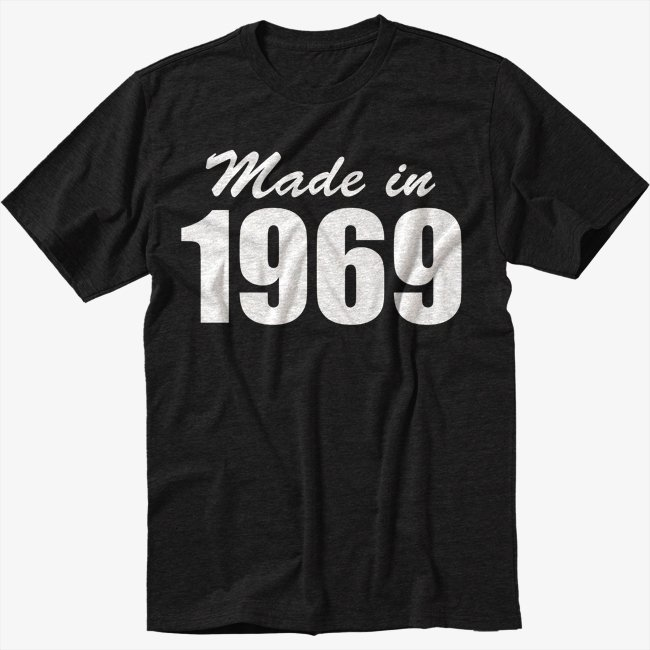 Made In 1969 Birthday Gift Tee Black T-Shirt Screen Printing