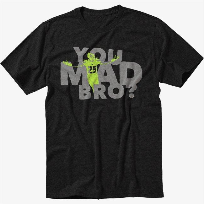 Richard Sherman You Mad Br0 Black T-Shirt Screen Printing