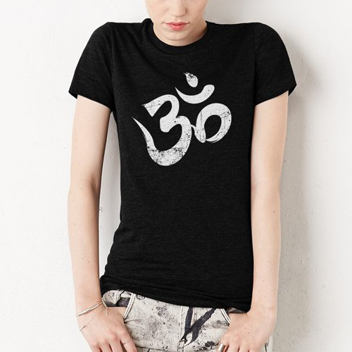 Yoga Symbol Meditation Women Black T-Shirt S - 2XL