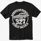 327 CI AMERICAN MUSCLE T-Shirt CAR GM CHEVY CAMARO Black T Shirt