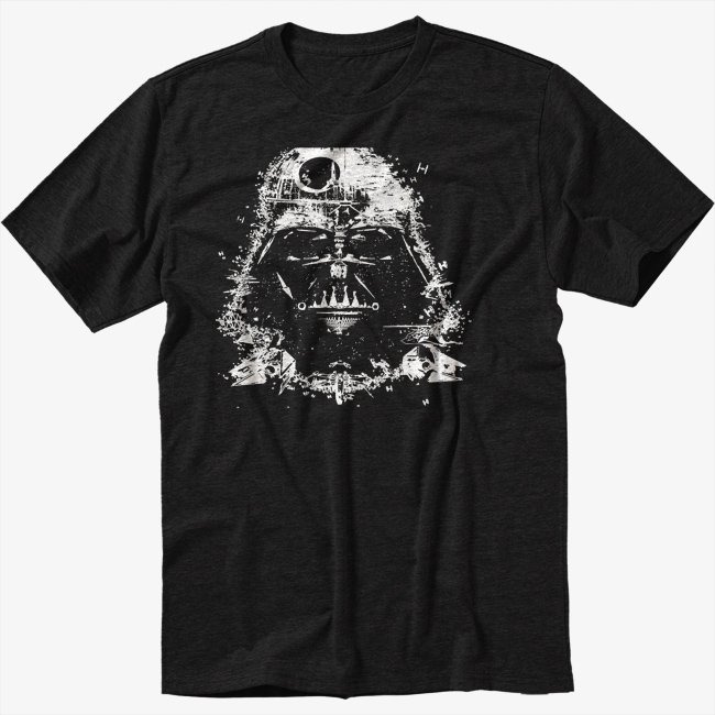 Darth Vader Black T-Shirt Death Star Face Star Wars Geek Si-Fi
