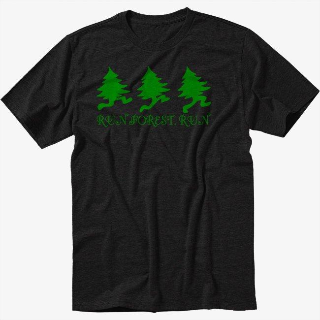 Run Forest Run Black T-Shirt Forest Gump Movie Parody
