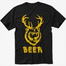 Beer Deer T-Shirt funny vintage bear drunk party college Men Black T Shirt