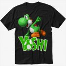 Boys Nintendo Big Green Yoshi Men Black T Shirt