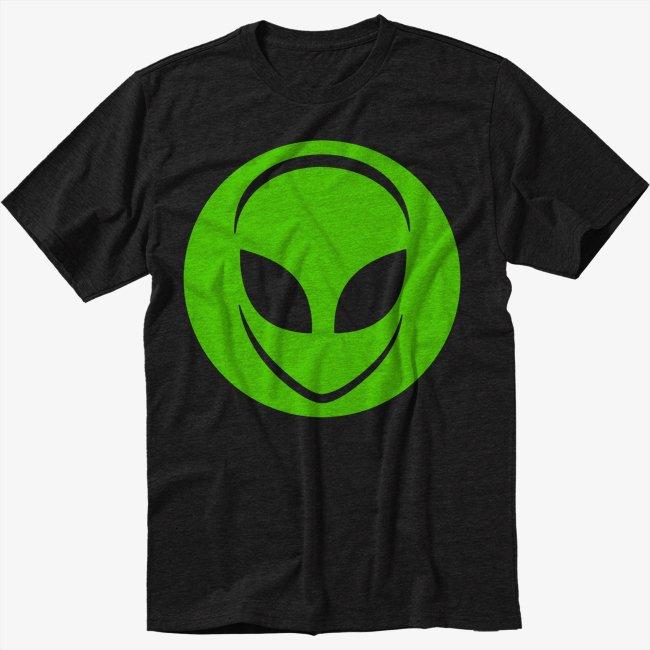 Alien Head UFO Aliens Geek Men Black Tshirt