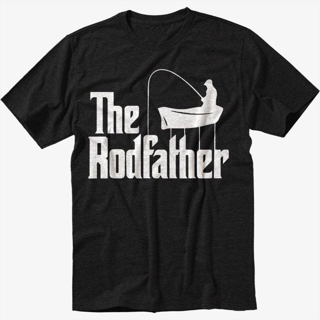 The Rodfather Pun Parody Fishing Men Black T-Shirt