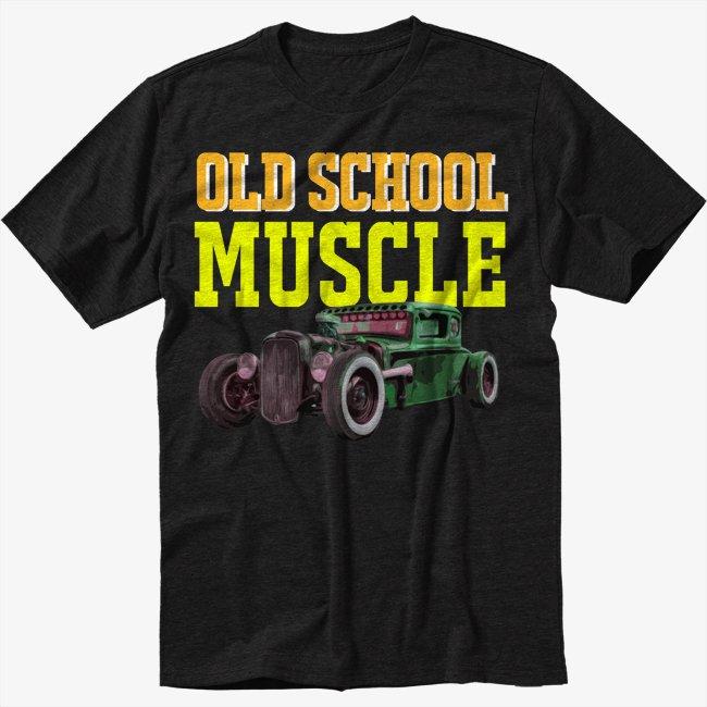 Old School Muscle Truck Rat Classic Car Black T-Shirt
