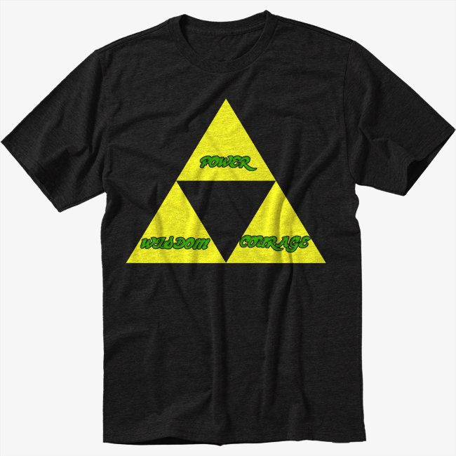 THE TRIFORCE Legend of Link Zelda Black T-Shirt