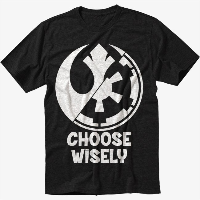Choose Wisely Rebel Alliance Imperial Forces Men Black T-Shirt
