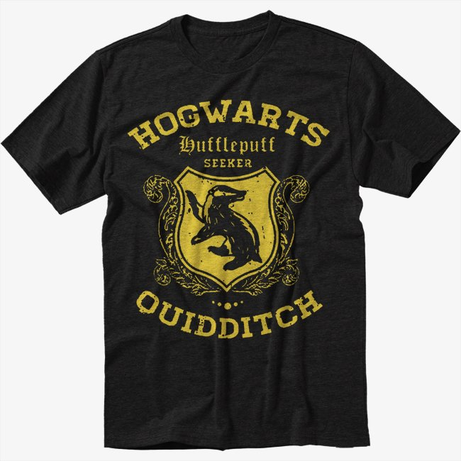 Hufflepuff Quidditch Funny Harry Hog Potter Warts Seeker House Men Black T-Shirt