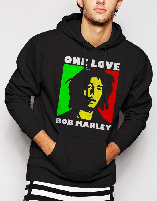 New Rare Bob Marley One Love Rasta Men Black Hoodie Sweater