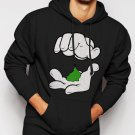 New Rare Cartoon Hands Pinch Pot Weed Swag Men Black Hoodie Sweater