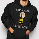 New Rare Peanuts Charlie Brown Men Black Hoodie Sweater