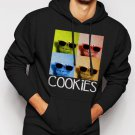New Rare Sesame Street Cookie Monster Glasses Men Black Hoodie Sweater