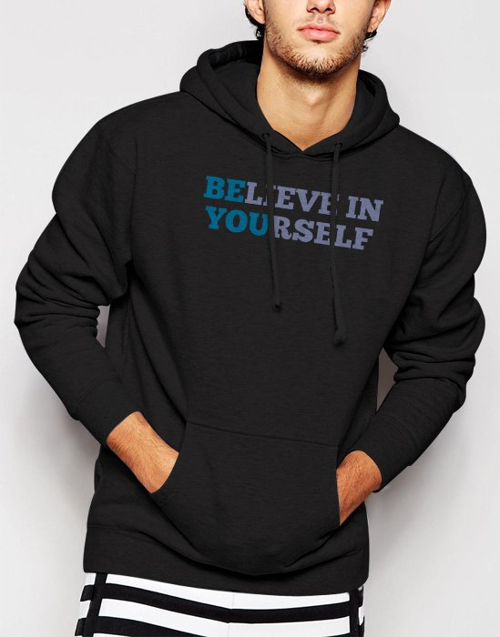 New Rare BELIEVE IN YOURSELF Men Black Hoodie Sweater