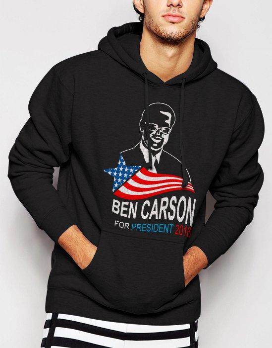 New Rare Ben Carson For President 2016 Men Black Hoodie Sweater