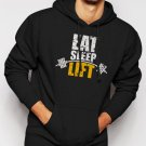 New Rare Eat Sleep Lift Men Black Hoodie Sweater