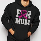 New Rare For My Mom Breast Cancer Awareness Men Black Hoodie Sweater