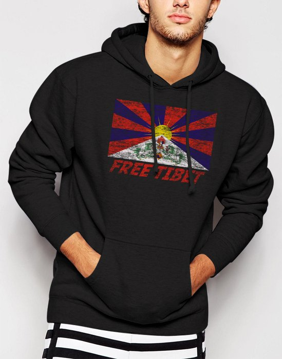 New Rare FREE TIBET Coexist Flag Dalai Lama Peace Human Rights Men Black Hoodie Sweater