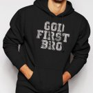 New Rare God First Bro Men Black Hoodie Sweater