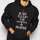 New Rare Keep Calm I'm Almost A Nurse  Men Black Hoodie Sweater