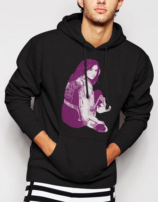 New Rare Selena Gomez Pop Star Singer Men Black Hoodie Sweater