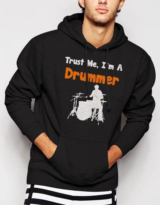 New Rare Trust Me I'm A Drummer Men Black Hoodie Sweater